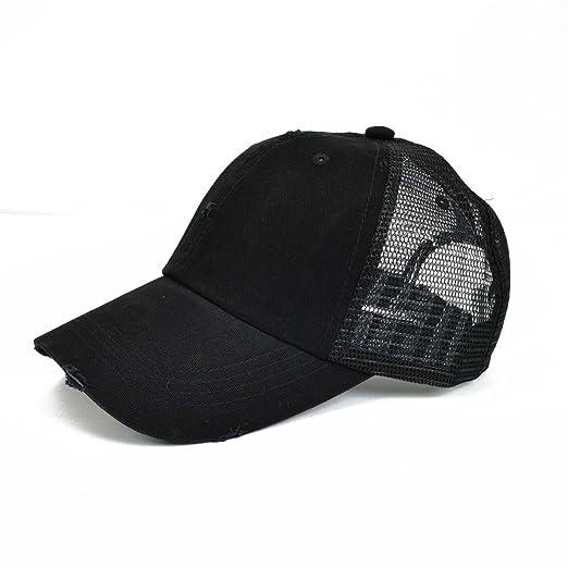 aa0ddd088c8 VOBOOM Men s Vintage Washed Adjustable Mesh Trucker Baseball Cap Hat BQ020  (Black)