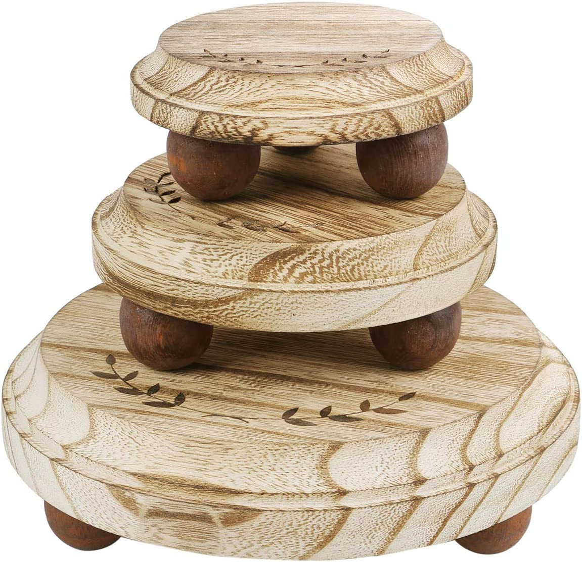 """Ikee Design 3Pcs Set Wood Stackable Display Riser Stands, Wood Pedestal Riser for Cake Party Food Collection Display, Showcase, Store and Home Décor, Height: 2""""H; 2""""H; 2 3/4""""H"""
