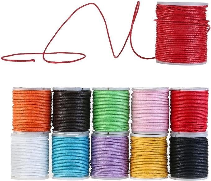 10 rollos de algodón encerado cuerda, 1mm 10 metros, para proyectos creativos, artesanía, joyería, bisutería, bijoux by RIVENBERT: Amazon.es: Hogar