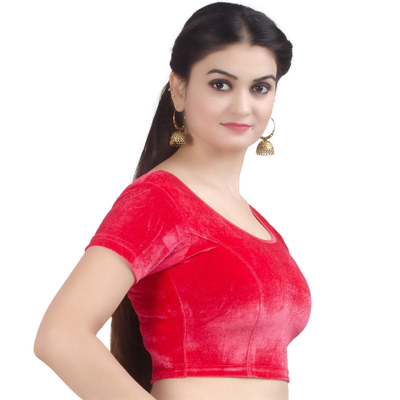 Chandrakala Womens Stretchable Readymade Indian Ethnic Saree Blouse Crop Top Choli B130