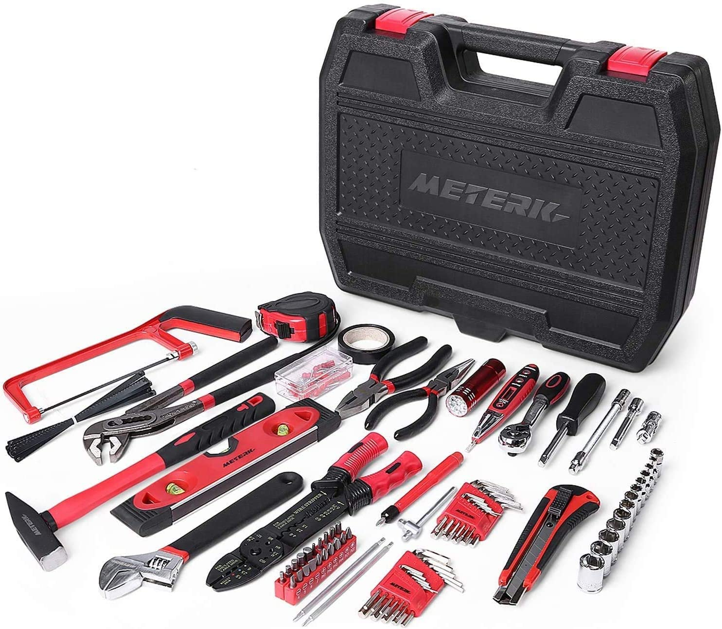 Meterk 170 Pcs Home Tool Kit- Household/Auto Repair Mechanic Tool Set with Wrenches, Screwdriver Set, Sockets Kit, Hammer, Pliers and Toolbox Storage Case for Homeowner, DIYER, Handyman