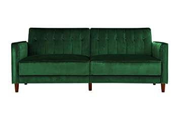 Groovy Dhp Ivana Tufted Futon Green Velvet Machost Co Dining Chair Design Ideas Machostcouk