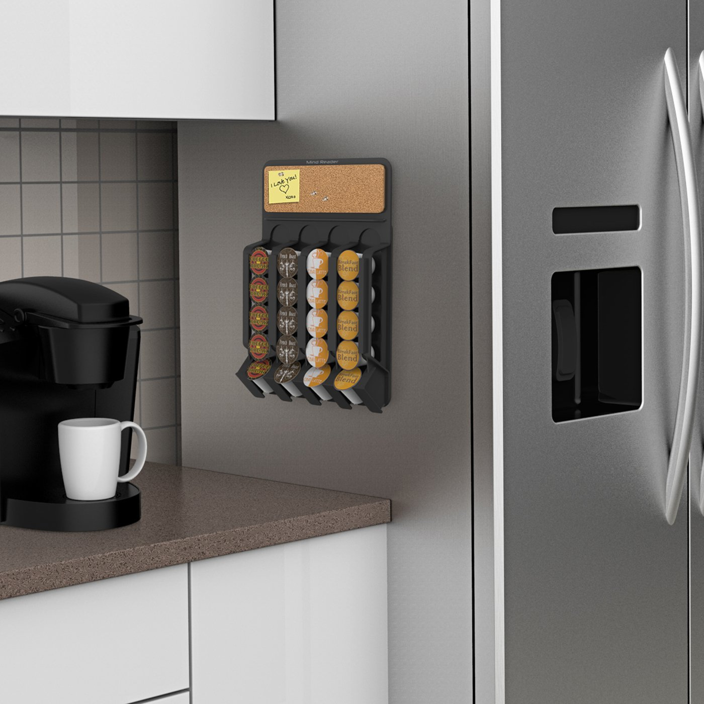 Amazon.com: Mind Reader Coffee Pod Storage Dispenser, Wall Mount / Fridge  Mount With Cork Top, Black: Kitchen U0026 Dining