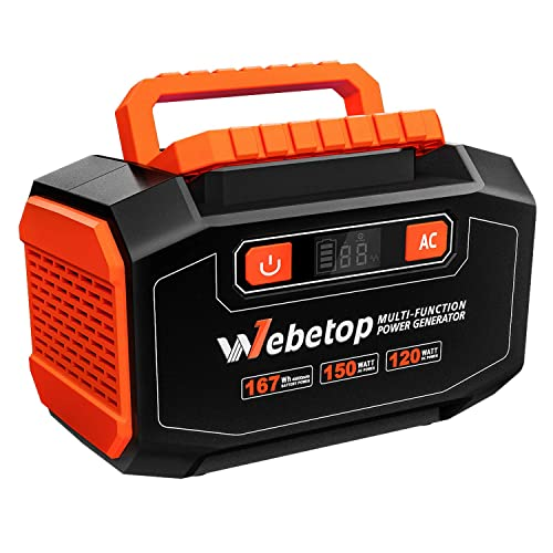 Webetop 167Wh 45000mAh Portable Generator Inverter Battery 150W Camping Emergency Home Use UPS Power Source Charged Solar Panel Wall Car 110V AC Outlet, 3 DC 12V, 2 USB Port
