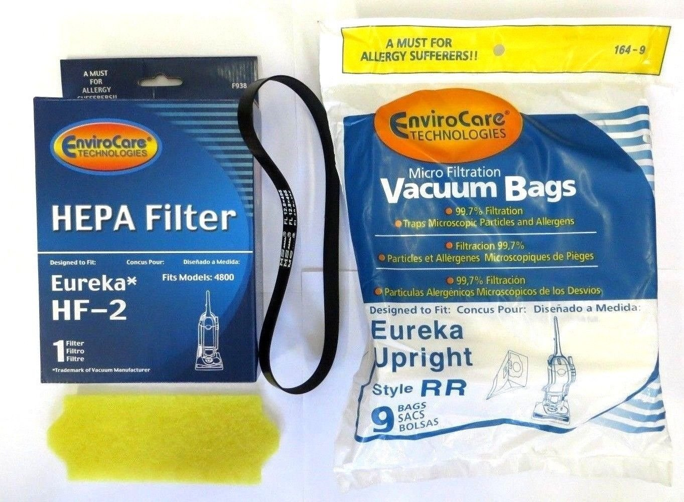Eureka Vacuum 4870 Smart Vac Supply Kit (9 Bags & 1 R Belt & Hf2 & 70082 Filter) by EnviroCare