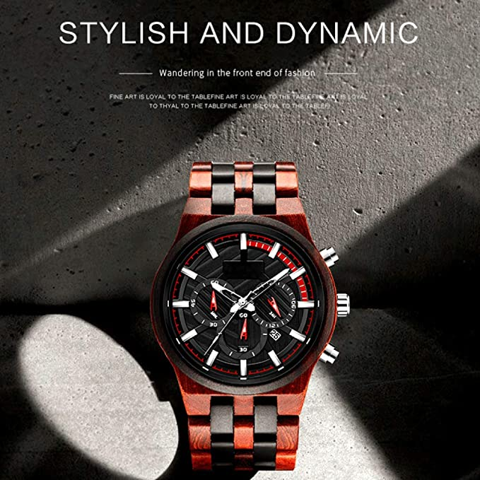 KXKSL Smartwatch Reloj Madera para Hombre, Esfera Grande sándalo ...