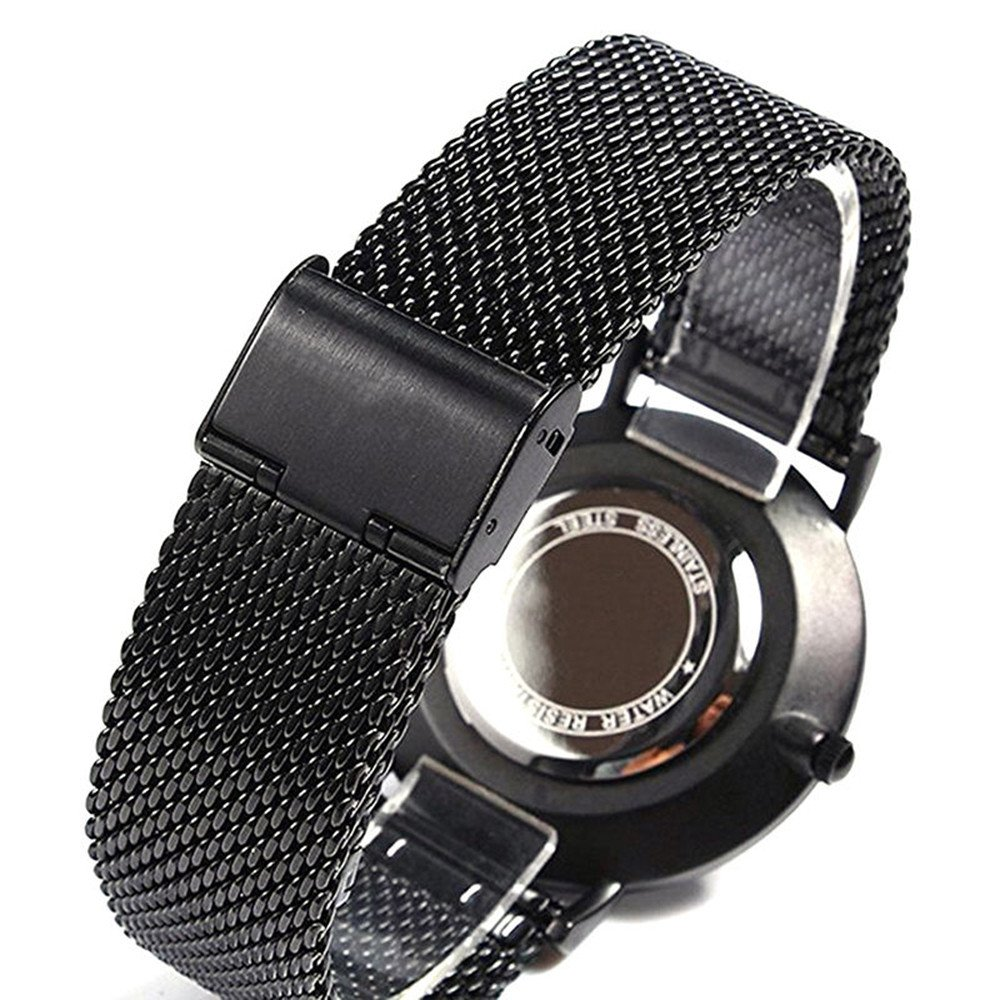 Amazon.com: Axiba Mens Black Leather Band Causal Analog Dress Quartz Wrist Watch with Black Face and Simple Design (Silver): Watches