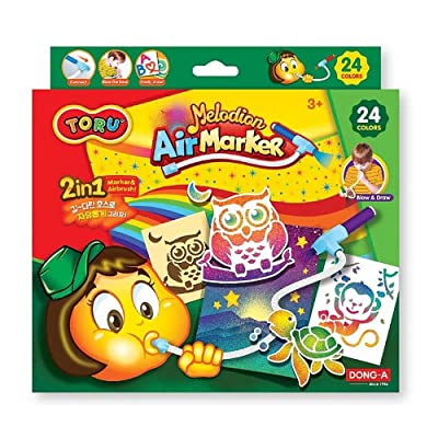 TORU Melodion Air Marker Sprayer Set, Drawing Color Pens/Easy-to-use air Marker/Airbrush Craft Kit with Stencils (24 Colors): Toys & Games