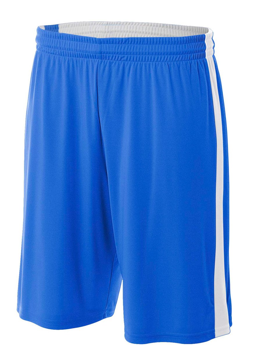 A4 NB5284-ROW Reversible Moisture Management Shorts, 8''/Small, Royal/White by A4