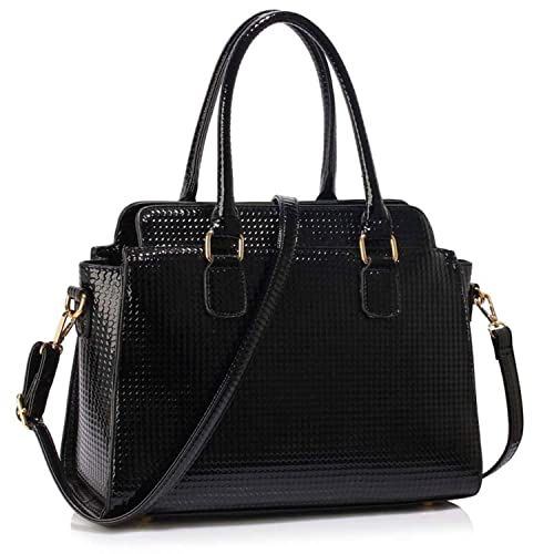 Xardi London Black Medium Patent Leather Grab Bag for Women Vinyl  Waterproof Designer Work Office Handbags 6e643a55312fc