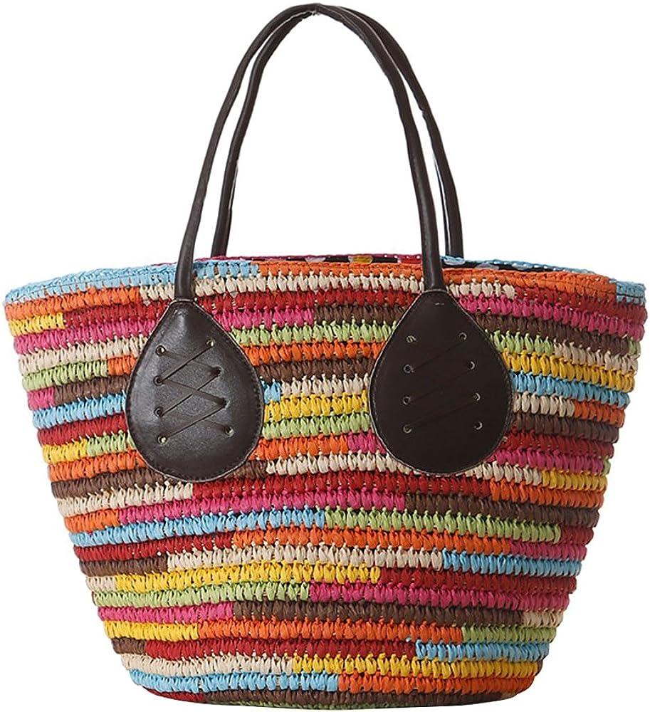 Fairysan - Bolso de mano para mujer, de gran capacidad, estilo vintage, de paja, de tela colorida, de trigo, para playa