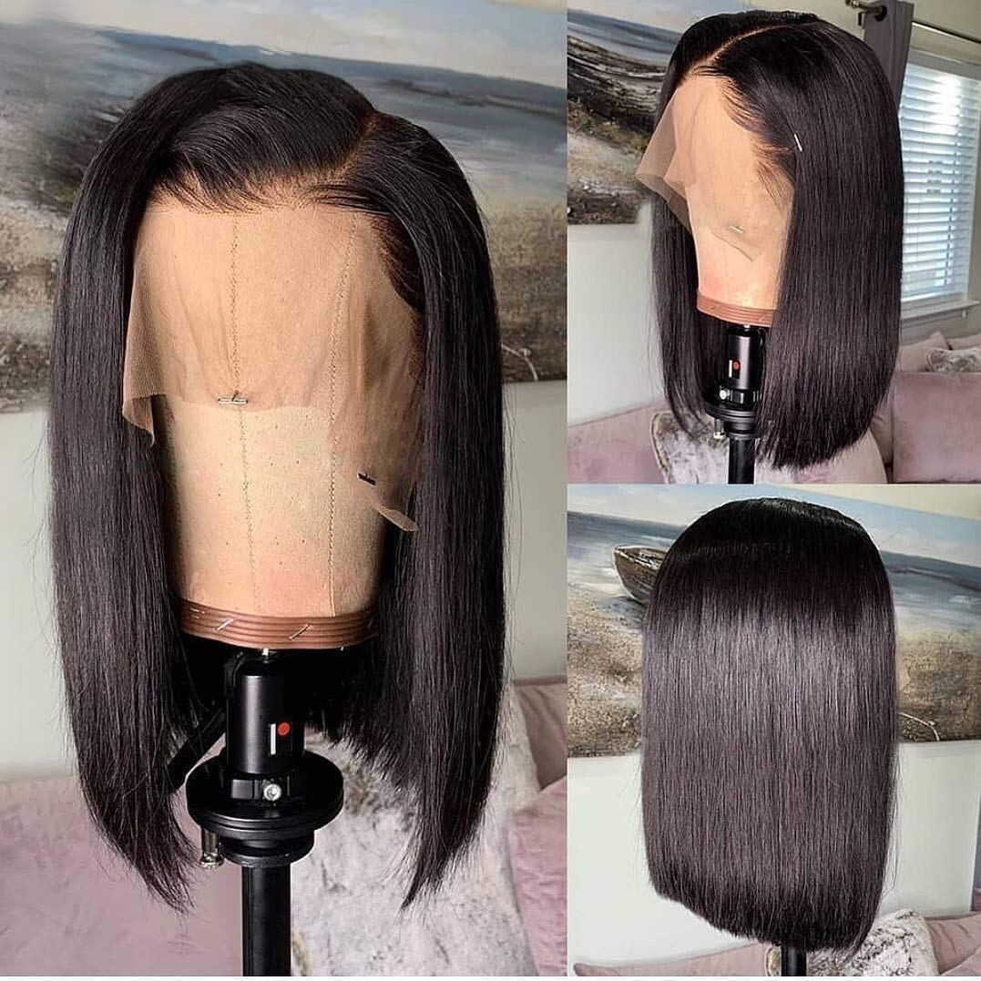 B073S5S2V7 13x6 Deep Part Short Bob Human Hair Pre Plucked Hair Line Straight Bob Full Lace Frontal Wigs 150% Density with Baby Hair for Black Women 710E1lDyePL