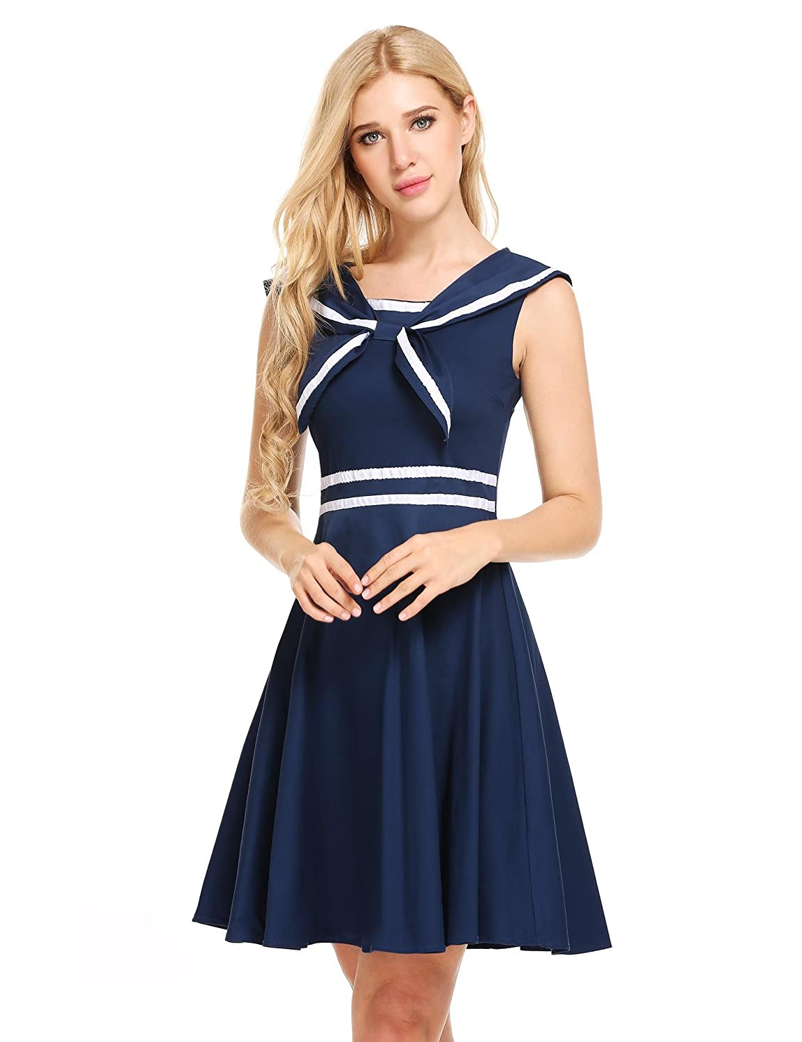 1920s Tennis Clothes | Womens and Men's Outfits ACEVOG Womens Sleeveless 50s Vintage School Uniform Flare Retro Sailor Dress $34.99 AT vintagedancer.com