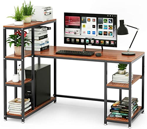 Cyfie 55 Inch Computer Desk Adjustable Switchable Storage Side Shelf