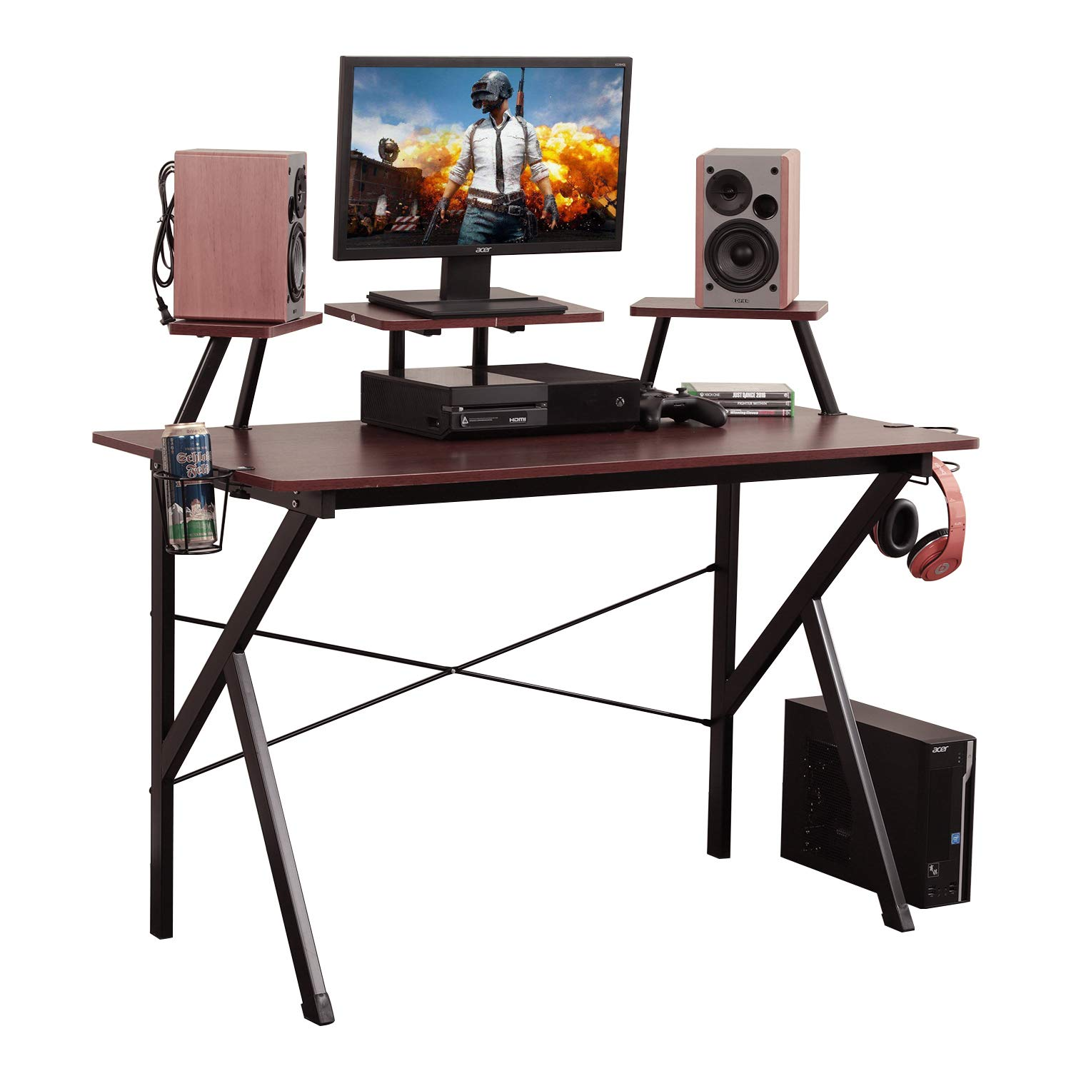 Soges Gaming Desk 47 inches Computer Desk Workstation Desk with Adjustable Support Panel, Cup Holder, Basket Hook, Walnut YX001-120-W