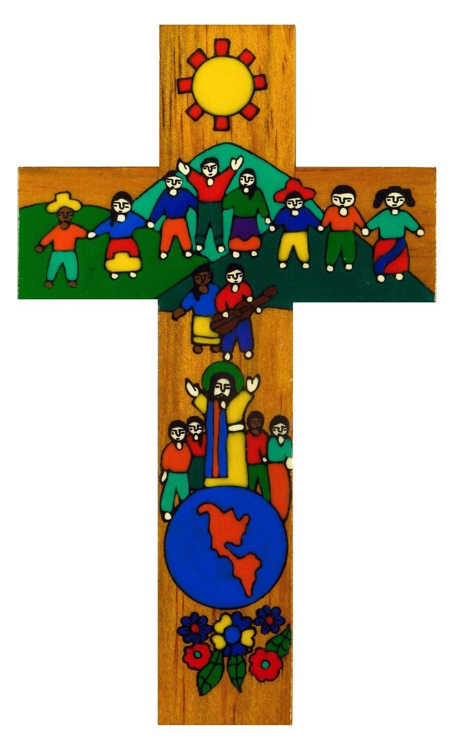 Croce da parete in pace sulla terra–Dipinto a mano 30cm Equo E Solidale... MacaMex