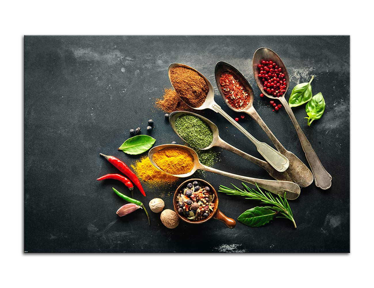 Amemny Kitchen Pictures Canvas Wall Art Herbs And Spices On A Wooden Table Background Giclee Print Gallery Wrap Modern Home Decor Ready To Hang