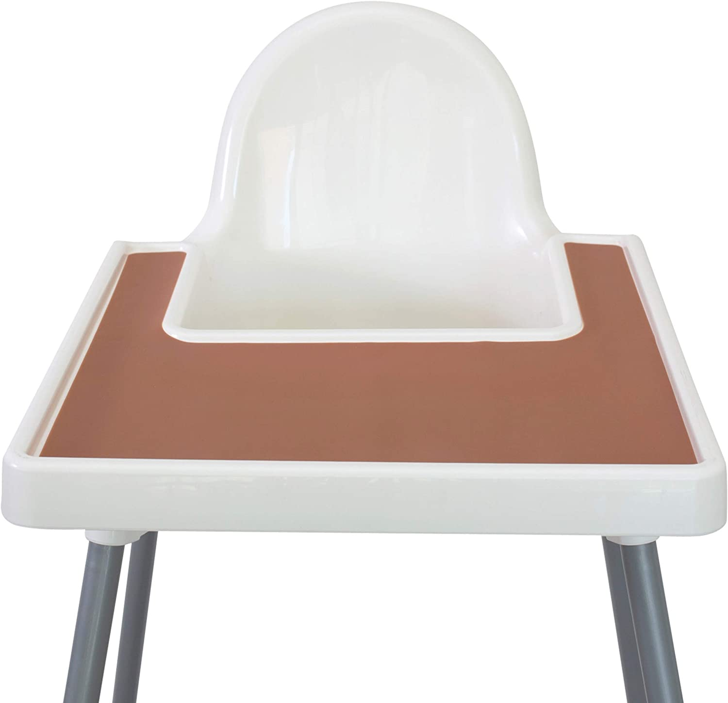 Mango Co. IKEA High Chair Placemat for Antilop Baby High Chair - BPA Free, Dishwasher Safe, Silicone Placemats - Finger Foods Placemat for Toddler and Baby (Clay Brown)
