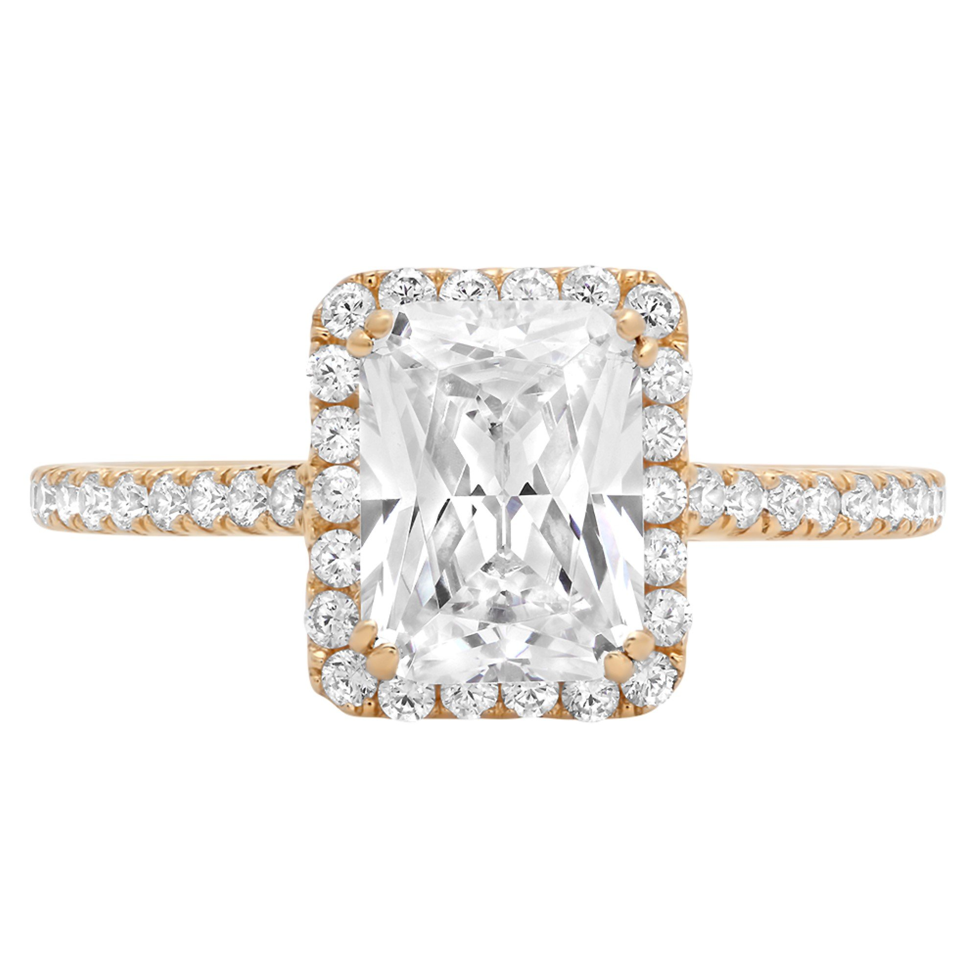 2.08ct Brilliant Emerald Halo Simulated Diamond Statement Solitaire Ring 14k Yellow Gold, 8.75