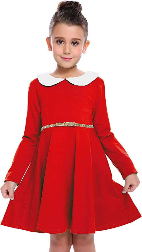 Kids 1950s Clothing & Costumes: Girls, Boys, Toddlers Arshiner Little Girls Dresses Long Sleeve Doll Collar Swing Party Dress $16.99 AT vintagedancer.com