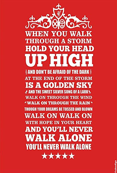d84d1703e Alter Ego Recycled Material You Will Never Walk Alone Liverpool  -Typographic Poster (Multi