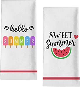 "Seliem Hello Sweet Summer Decorative Kitchen Dish Towel, Watermelon Bath Fingertip Towel Tea Bar Hand Drying Cloth, Seasonal Popsicle Decor Sign Home Farmhouse Decorations 18"" x 28"""