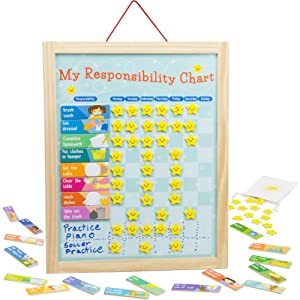 My Responsibility Chart, Magnetic Dry Erase Wooden Chore Chart with Storage Bag, 24 Goals and 56 Reward Stars by Imagination Generation