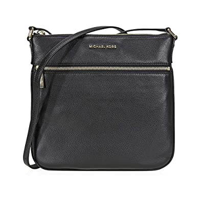 2aba396ac22130 Amazon.com: MICHAEL Michael Kors Womens Bedford Leather Crossbody Handbag  Black Medium: Clothing