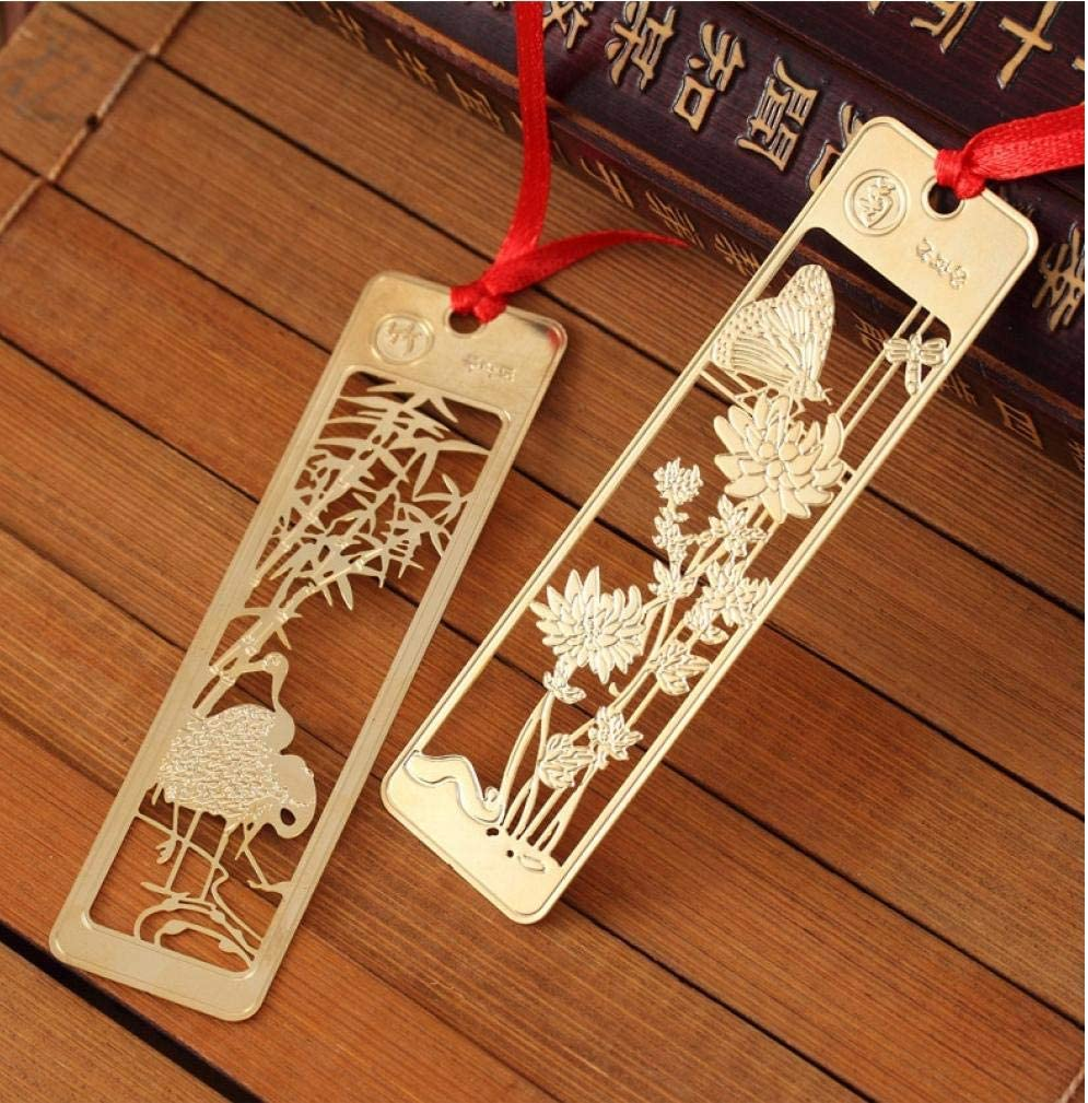 PiniceCore 4Pcs Kawaii Beautiful Chinese Style Vintage Exquisite Metal Bookmark For Book Creative,9.2cm 2.3cm Golden