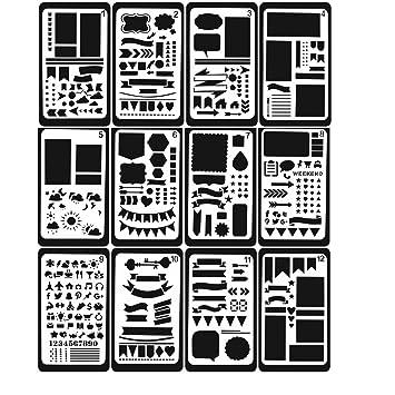 NBODY 12 Stück Zeichenschablonen, Kunststoff Zeichnung Skala Vorlage ...
