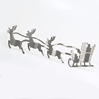 product image for Surf To Summit Corrugated Metal Santa's Sleigh and Reindeer Christmas Holiday Home Decor Wall Art Custom Plasma Cut Steel Sign Rustic Sign