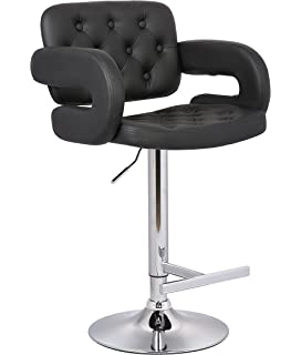 Christies Home Living Modern Black Leather Adjustable Button Tufted  Upholstered Barstool