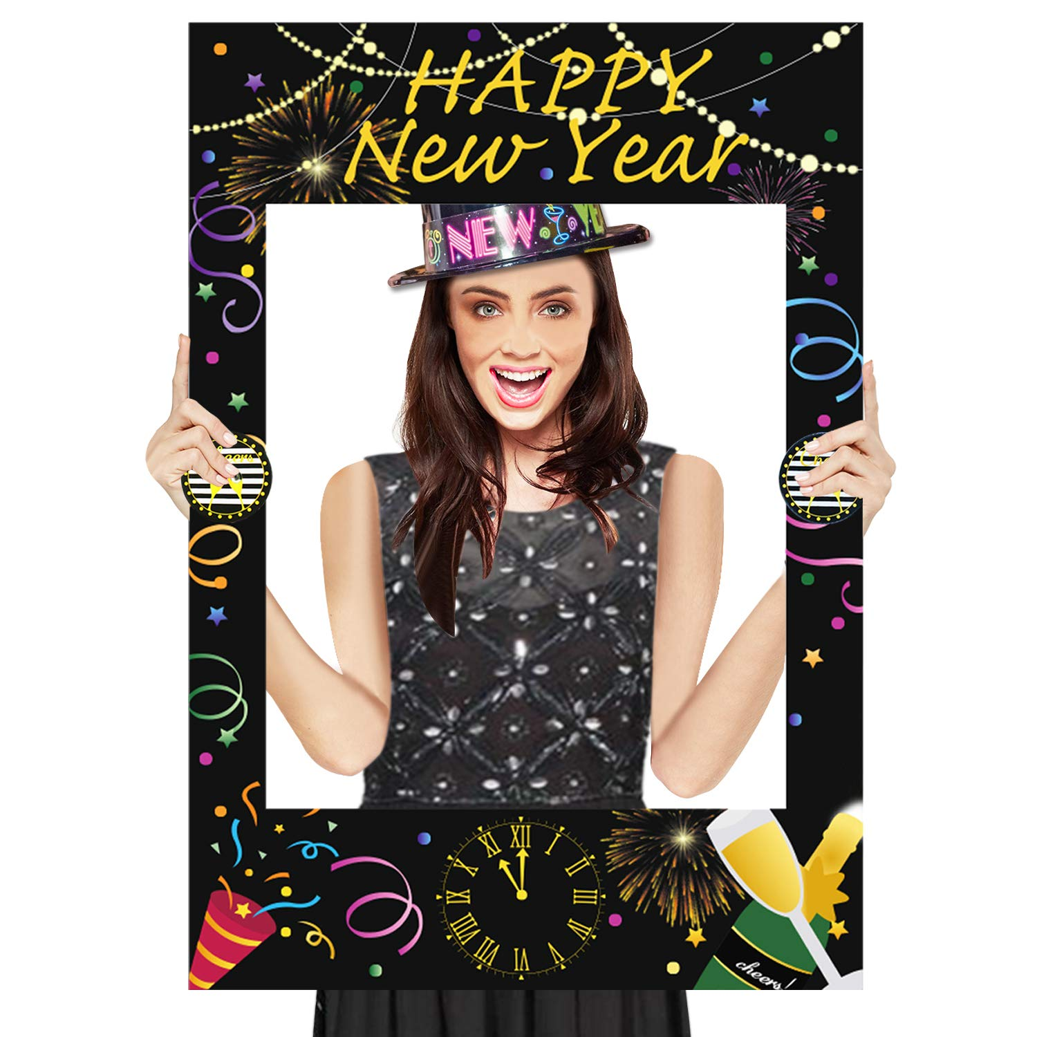 Happy New Year Photo Booth Props Frame - New Years Eve Photo Booth Frame - Cheers to 2019 Party Supplies