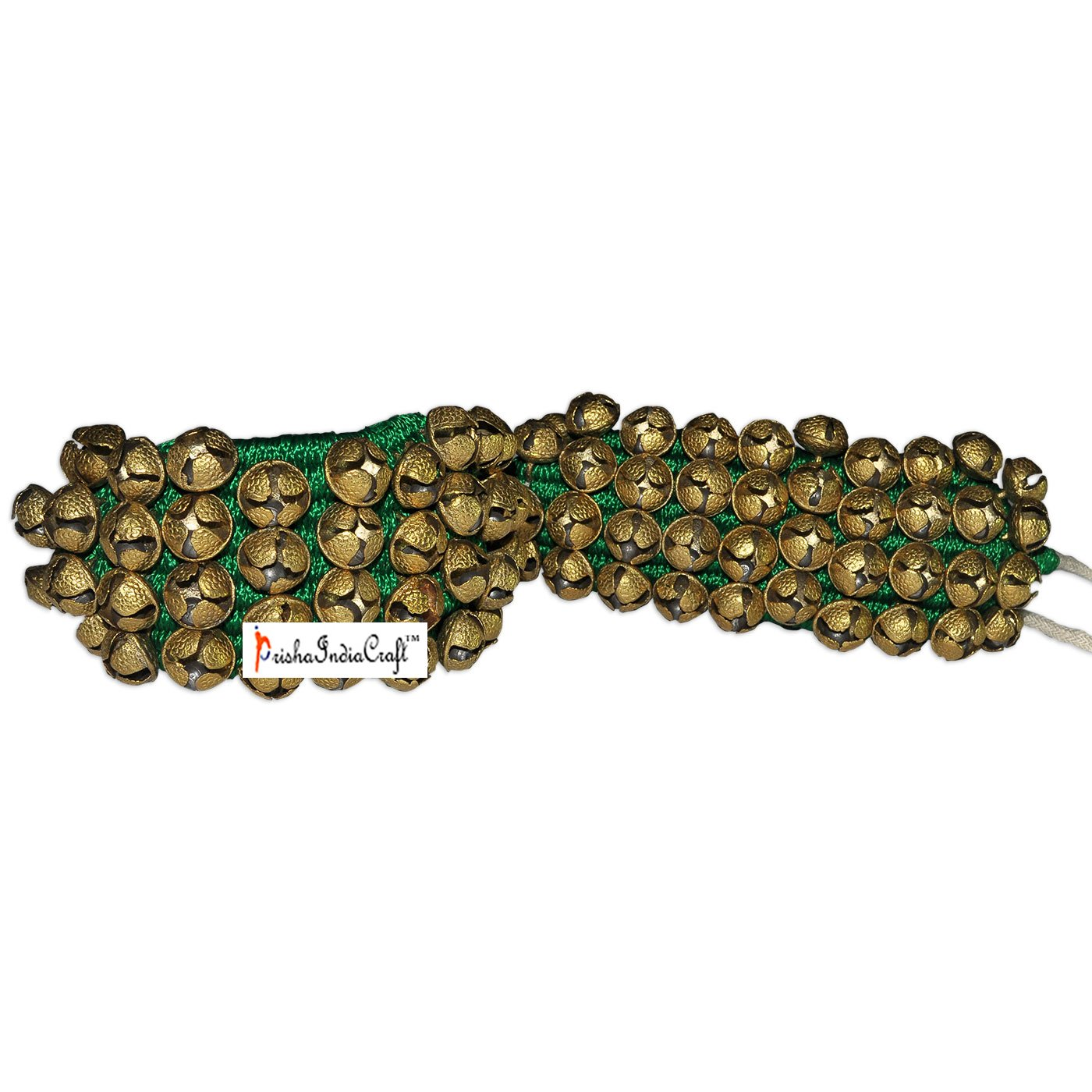Prisha India Craft ® Kathak Four Line Big Bells (16 No. Ghungroo) Best quality Good Quality Ghungroo Green Pad Indian Classical Dancers Anklet Musical Instrument