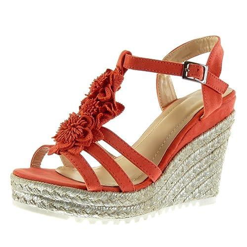 Angkorly - Chaussure Mode Sandale Mule lanière cheville plateforme femme fleurs corde brillant Talon compensé plateforme 11.5 CM - Bleu - B030 T 40 ufDjP1F1I