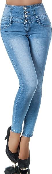 N708 Damen Jeans Hose Corsage Damenjeans High Waist Röhrenjeans Hochbund