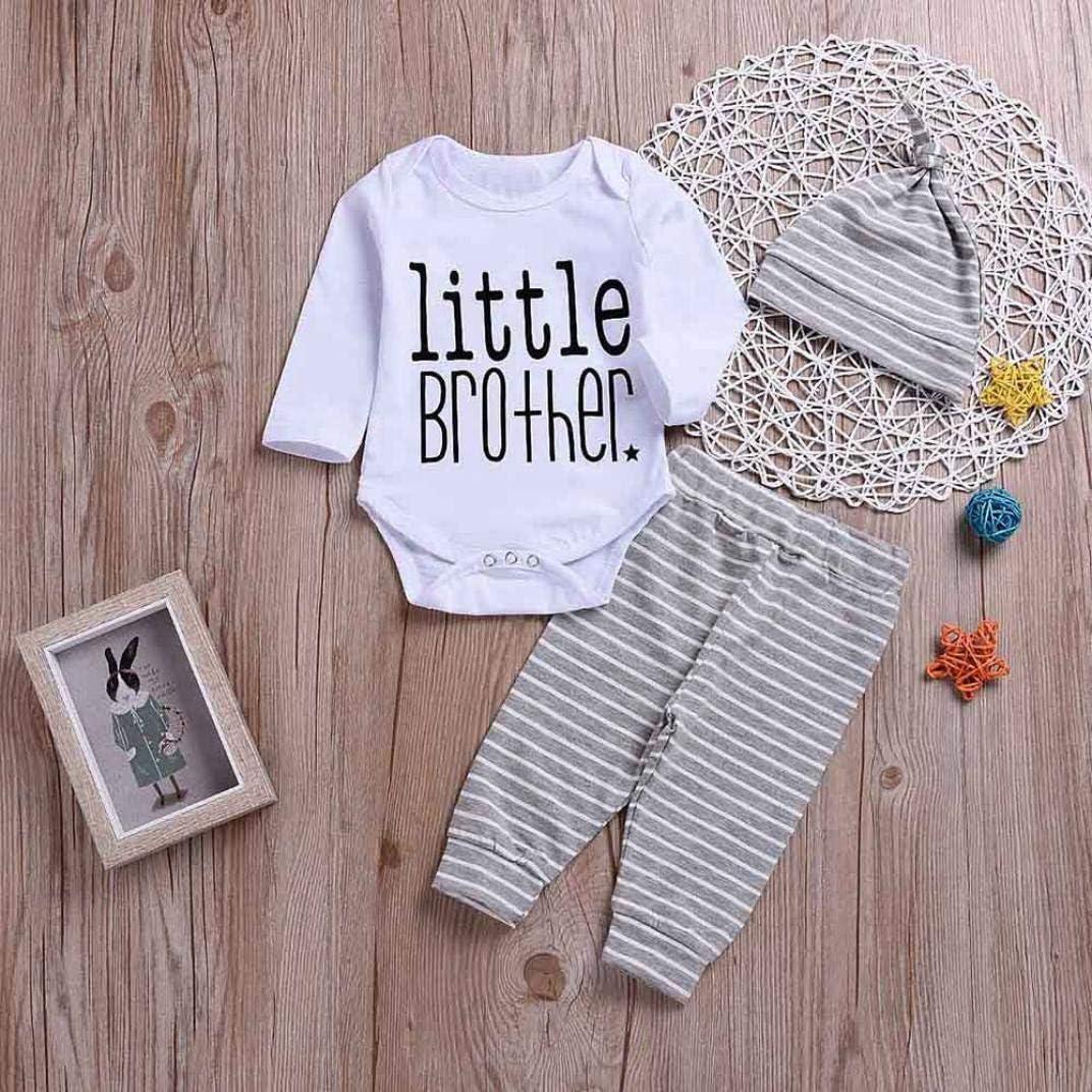 kaiCran Little Brother Baby Boys Bodysuit Outfits Set,Toddler Baby Letter Print Bodysuit Romper+Stripe Print Pants+Hat