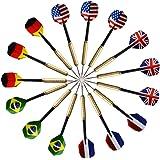 15 Steeldarts Dartpfeile mit unterschiedlichen Nationalflagge(5 Mustern) und Metallspitzen (ohne Dartscheibe)