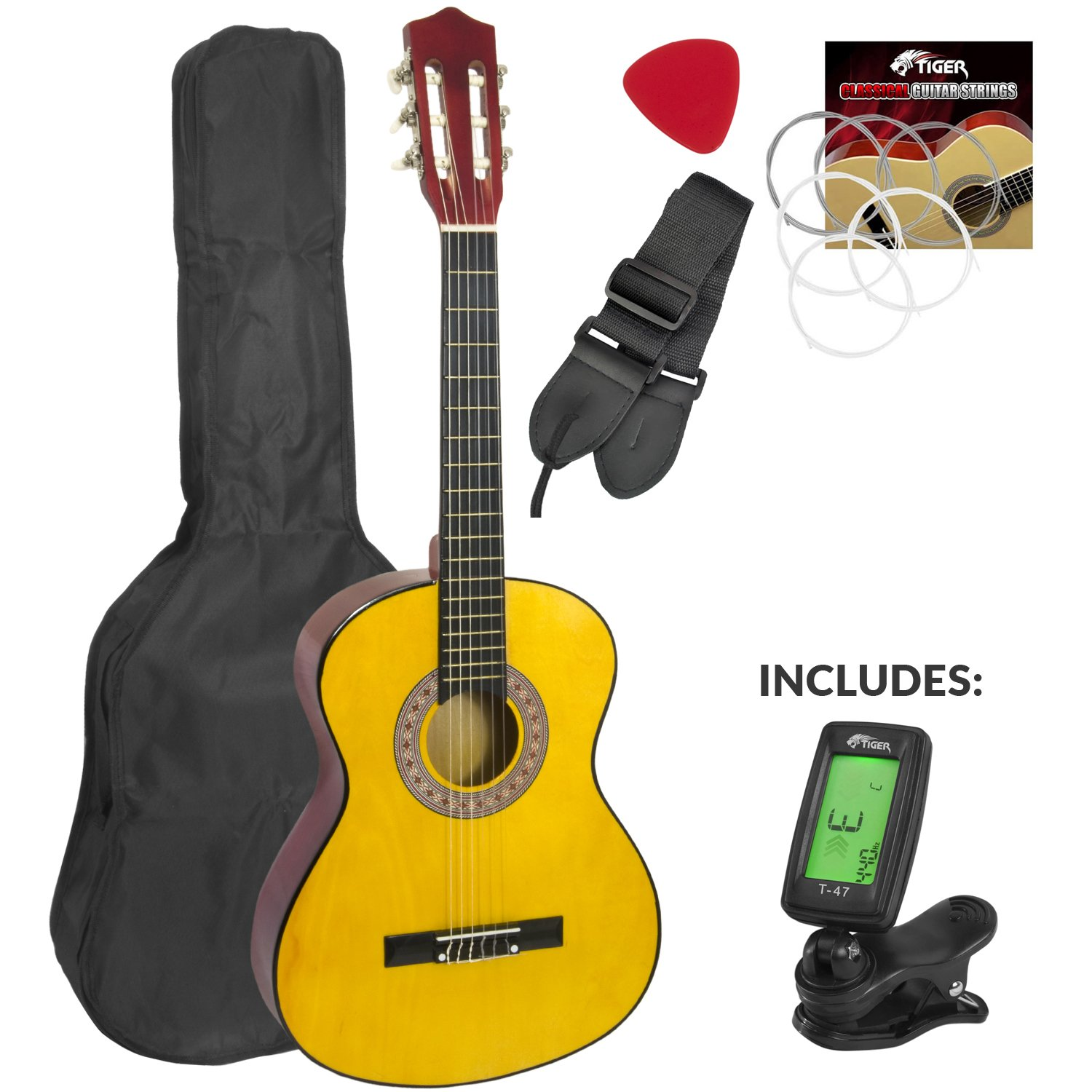 Childrens Classical Spanish Guitar Kids Pack 1/2 Size with Free Tuner by Mad About CLG1-12-TU
