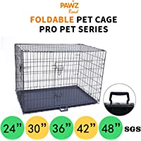 "PAWZ Road Pet Dog Metal Wire Cage Crate Kennel Double Door Folding | 24"" 30"" 36"" 42"" 48"""