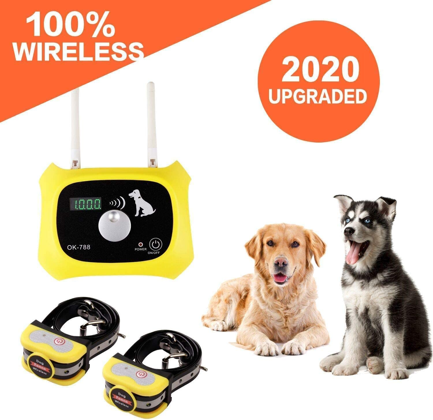OKPET Wireless Dog Fence Pet Containment System, Wireless Fence Boundary Container, Waterproof Dog Collar Receiver, Adjustable 1000 Feet Range, Harmless for All Dogs