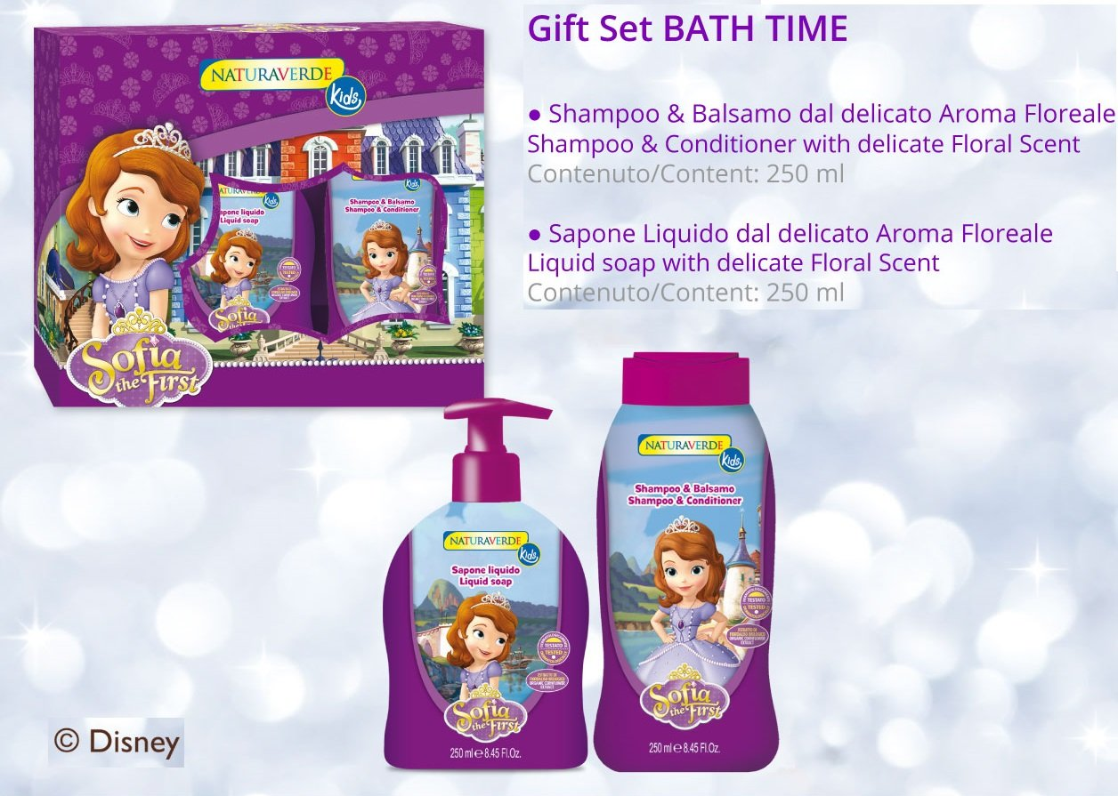 Gift Set for Girl Baby Kids Disney Princess Sofia - Shampoo & Conditioner 250ml + Body Liquid SOAP 250ml Sodico