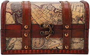Pirate Treasure Chest Vintage Handmade Decorative Wooden Box Trinket Jewelry Storage Case Home Decoration(Map)