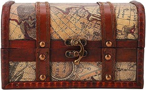 Pirate Treasure Decorative Chest Wooden Trinket Box Wooden Decorative Chest Jewelry Storage Box Vintage Small Pirate Treasure Chest Box
