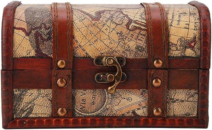 Hilitand Cofre del Tesoro Pirata Vintage Hecho a Mano Caja de Madera Decorativa Caja de Almacenamiento de la joyería de la baratija decoración del hogar(Map): Amazon.es: Hogar