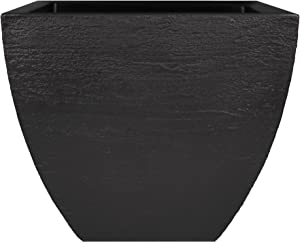 Tusco Products MSQ20BK Modern Square Garden Planter, 20-Inch, Black