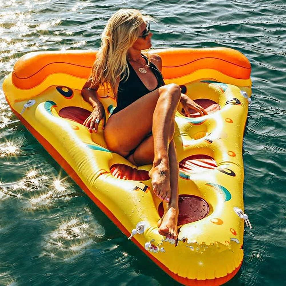 HUIJ Flotador Inflable,Flotador de Piscina Flotante Largo para Pizza,Flotador de Pizza Inflable Gigante de PVC Balsas de Cama Flotante de Agua para Piscina