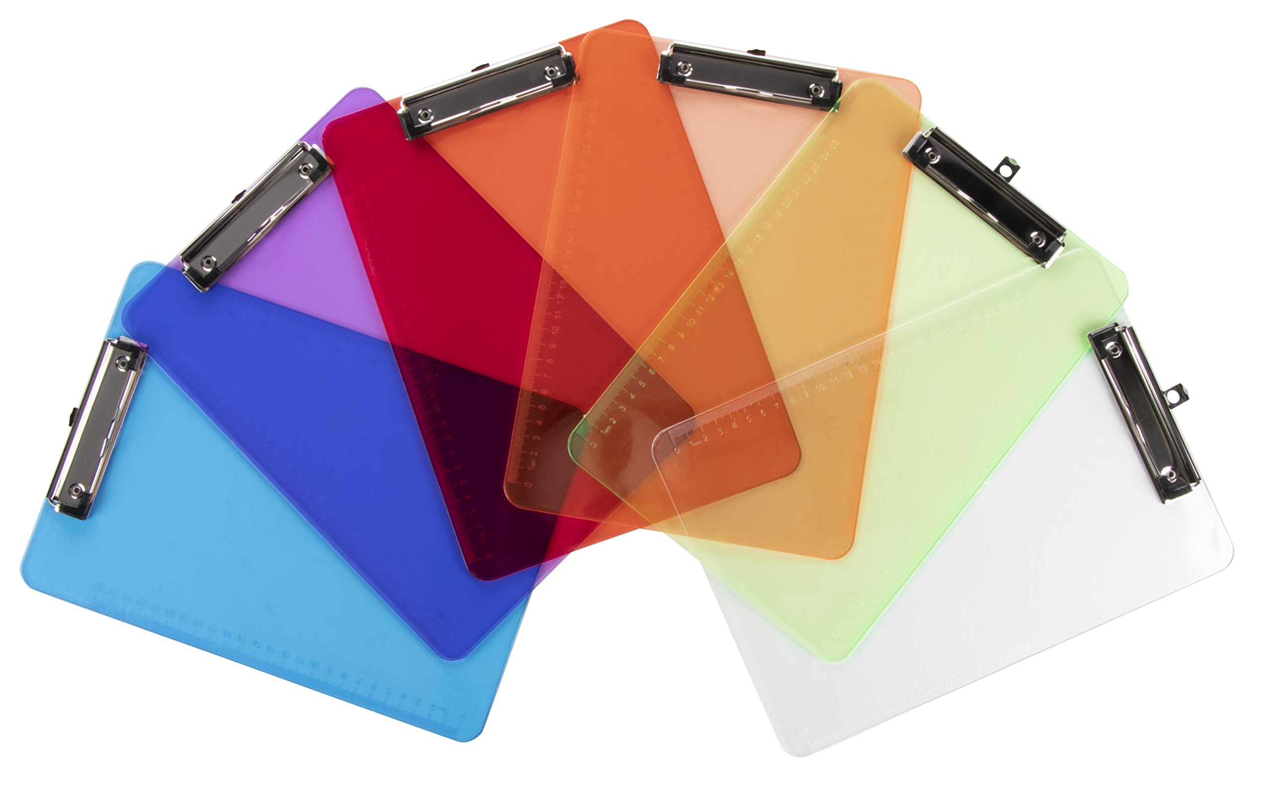 Plastic Letter Size Clipboard with Low Profile Clip and Rulers - 6-Pack Colorful Transparent Clip Boards for Classroom and Office, 6 Assorted Colors, Ruler of Inch and cm Scales, 9 x 12.5 Inches