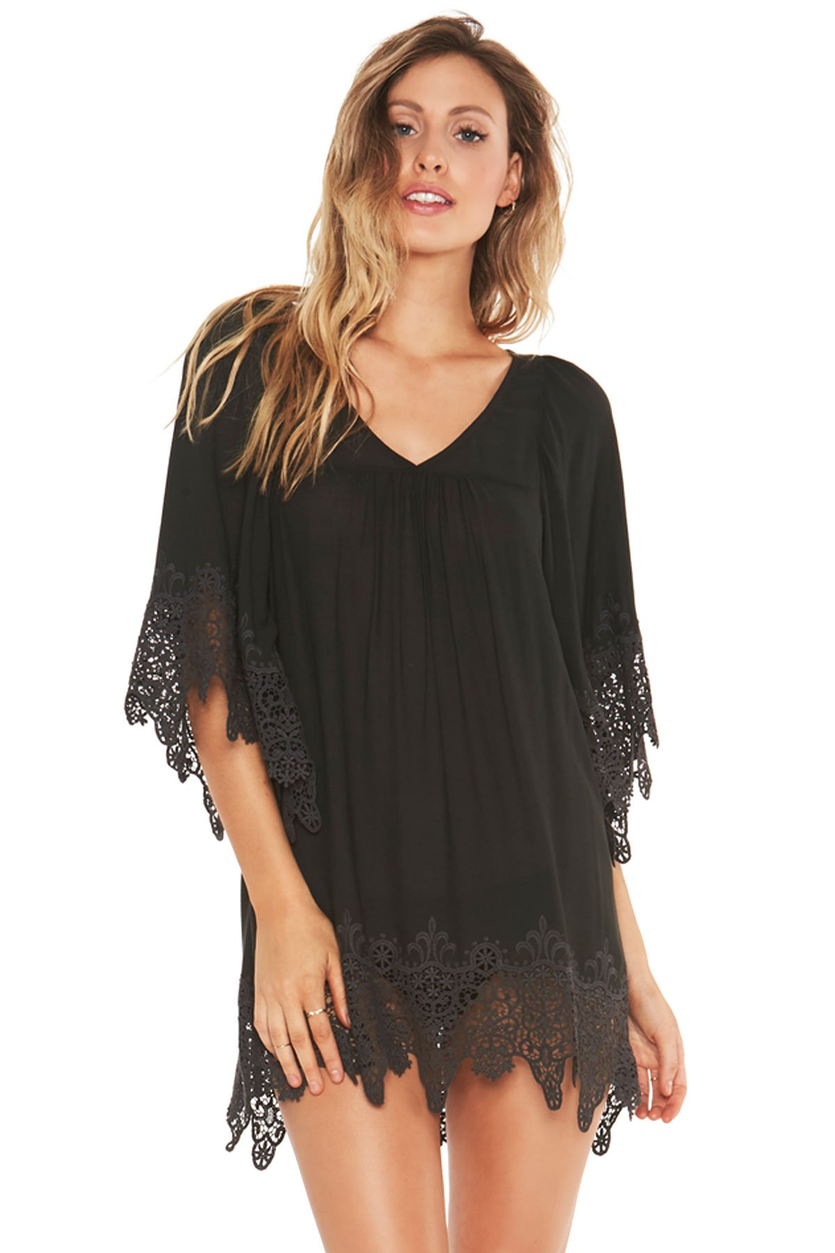 LSpace Women's Threads Tunic Swim Cover Up Charcoal L