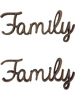 6x Family Words 5cm Wood Craft Embelishments Laser Cut Shape MDF